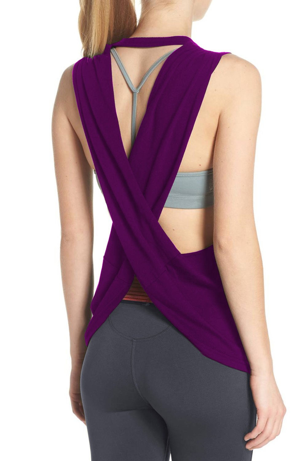 Duppoly Womens Running Tank Sleeveless Sexy Sport Tank Tops Gym Shirt Casual Knit Summer Tops 2018 Workout Clothes Purple M