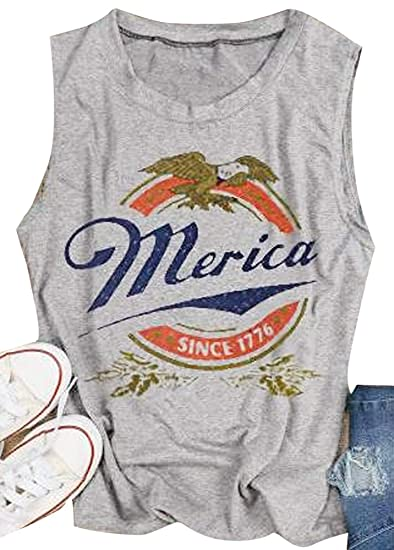 fb659d39 Godzgift Women's Casual Merica Since 1776 Tank Tops Loose Sleeveless Vest  T-Shirt Tunics Summer Tee Shirts at Amazon Women's Clothing store: