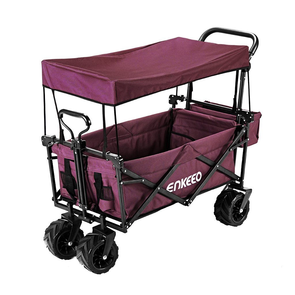 ENKEEO Utility Pull Wagon Collapsible Foldable Trolley Cart with Removable Canopy, Large Capacity and 4 Wheels for Outdoor Camping BBQ Gardening Shopping Beach Sporting Events, Burgundy