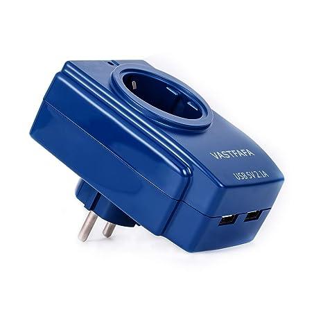 VASTFAFA Cargador USB un Enchufe,2 Puertos USB(5V,2.4A) Cargador con 1 Toma y Protección sobretensiones para Smartphone, Portátiles, Camara,Cámara y ...