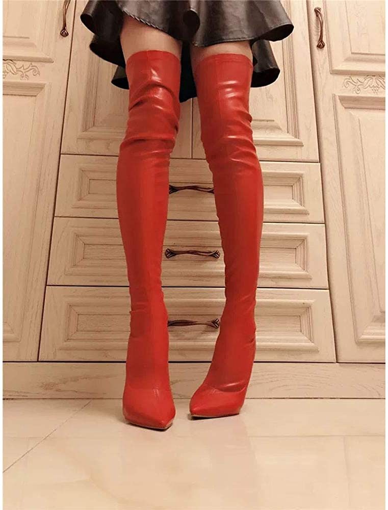 Gracemee Donna Moda Stivali Overknee Tacchi a Spillo 02 Rosso