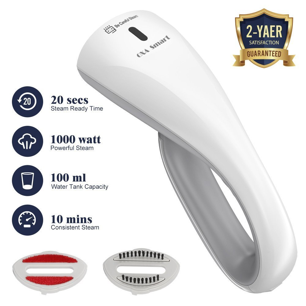OXA Powerful 1000W Handheld Clothes Steamer,Home and Travel Steamer for Clothes with 2 Brushes,20s Ultrafast, Portable, Compact, 100%Safe OXA Smart