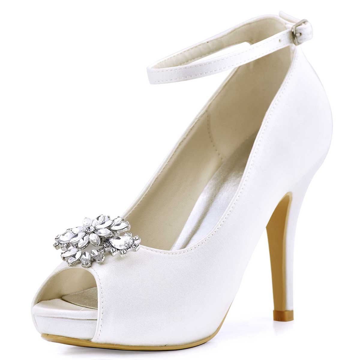 ElegantPark AK Wedding Dress Clutch Double Rhinestones Flowers Silver Shoe Clips 2 Pcs by ElegantPark (Image #3)
