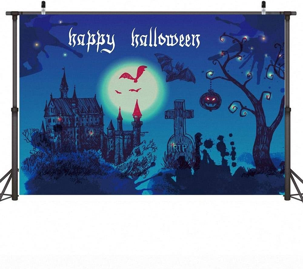 7X5ft Halloween Background Banner Halloween Night Moon Backdrop Cosplay Party Photo Backdrop Cloth Castle Bat Pumpkin Lantern Video Background Wall Backdrops for Photos Personalised Photo Backdrop