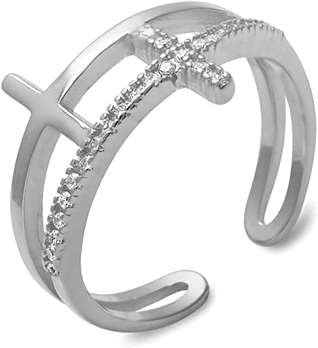 Heart Crown Trendy Midi Ring .925 Sterling Silver Ring Sizes 4-10