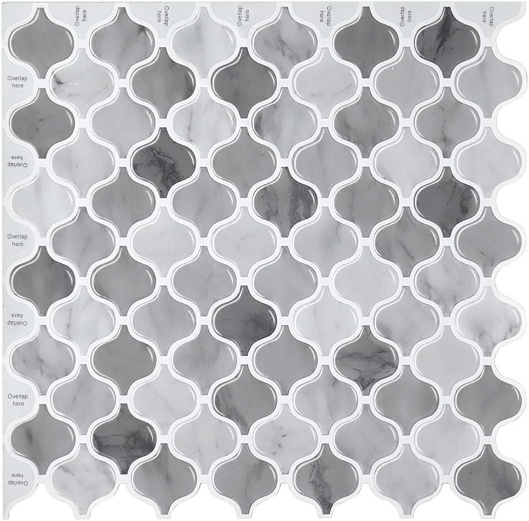 decalmile 10 3D Piezas Azulejos Adhesivos 27cm x 25,4cm Negro Marr/ón M/ármol Mosaico Pegatinas de Azulejos Autoadhesivo Cocina Ba/ño Decoraci/ón