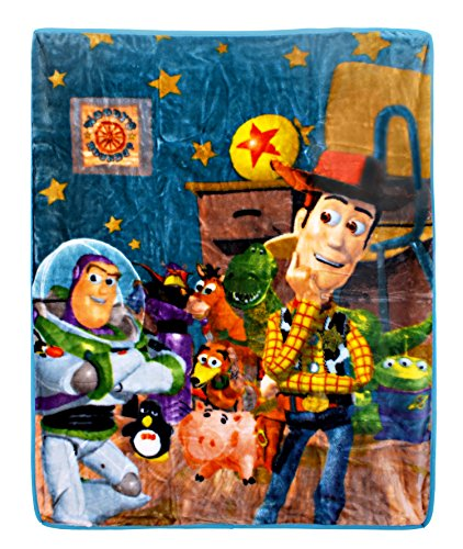 New Disney Pixar Toy Story Soft Royal Plush Raschel Throw Blanket Woody's Roundup Buzz Lightyear 40 x 50 Polyester