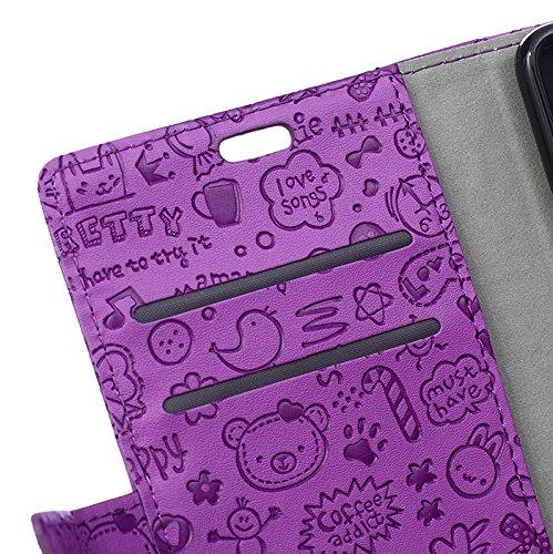 Lusee® PU Caso de cuero sintético Funda para NOKIA 3 Cubierta con funda de silicona botón pequeña bruja lilac