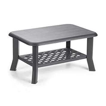 Mojawo Table de jardin rectangulaire Plastique Anthracite 90 x 60 cm ...