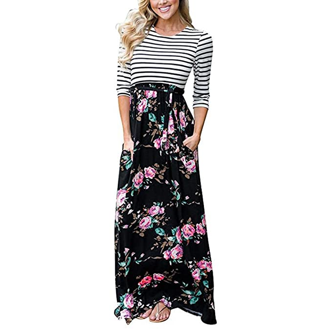 890c63a33bf0 FNKDOR Holiday Fashion Women Loose Stripe Floral Slim Beach Dating Sunwear  Tank Maxi Dress Pocket Long Sleeve Casual Summer Long Dress: Amazon.co.uk:  ...