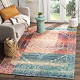 Safavieh Safran Collection SFN592A Hand-loomed Coral and Aqua Distressed Bohemian Cotton Area Rug (4' x 6')