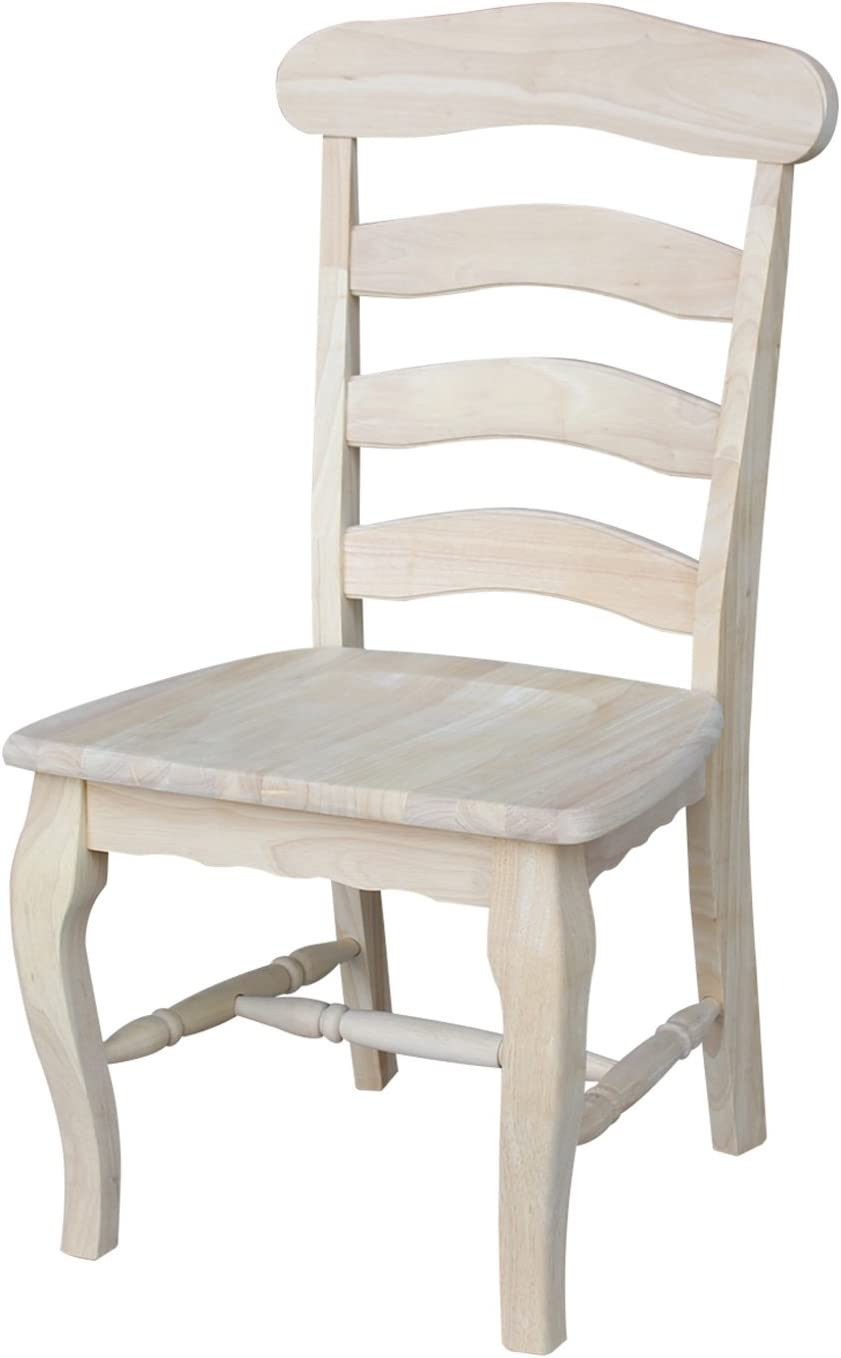 International Concepts Country french Chair with Solid Seat, Unfinished