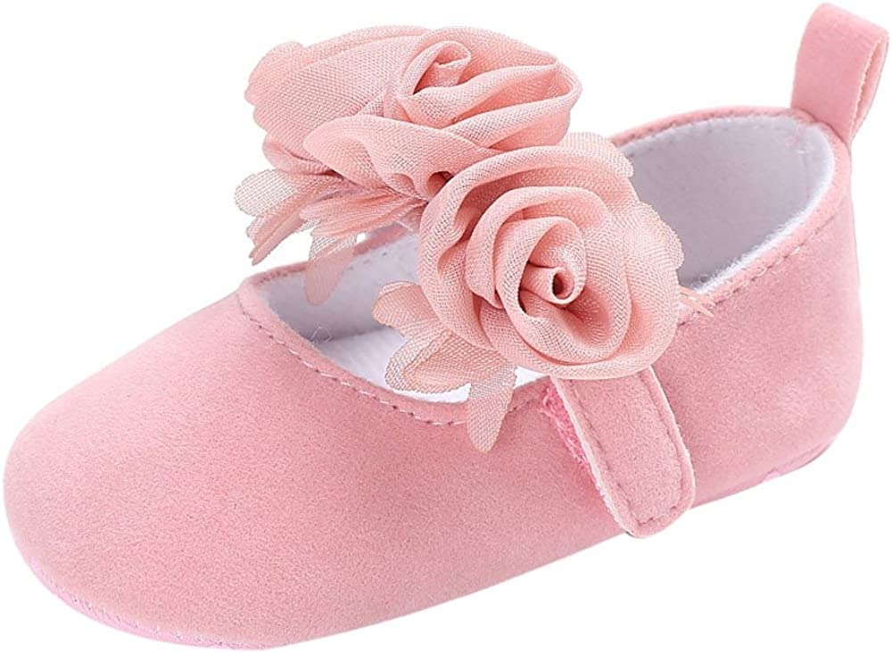 Seaintheson Baby Girls Shoes Baby Infant Girls Soft Sole Floral Princess Flat Shoes Prewalker Wedding Dress Shoes