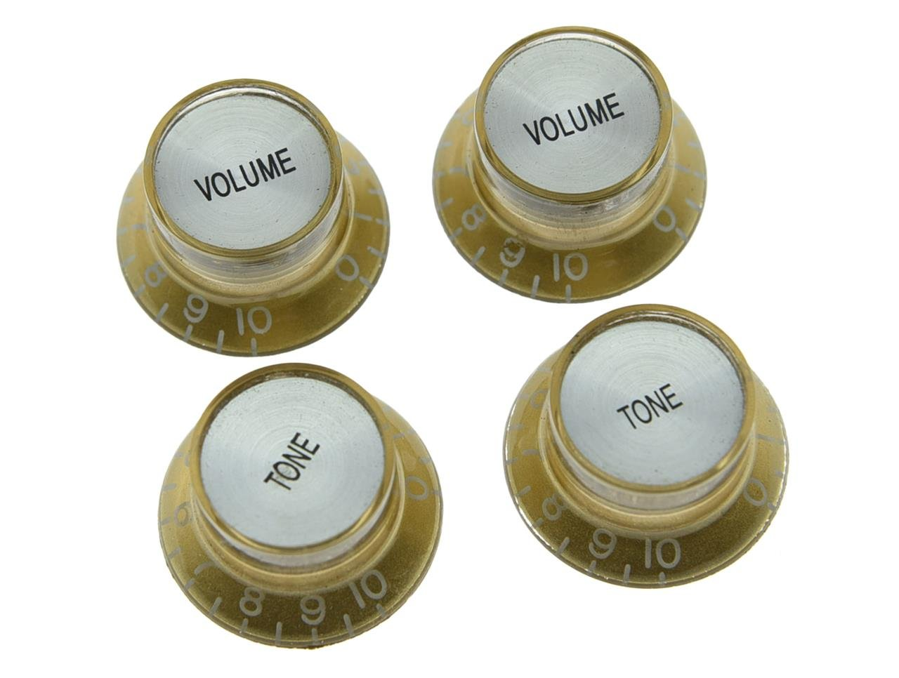 Dopro Set of 4 LP Guitar Reflector Knobs Black with Gold Cap Top Hat Knobs For SG Epiphone Les Paul K205-Dopro