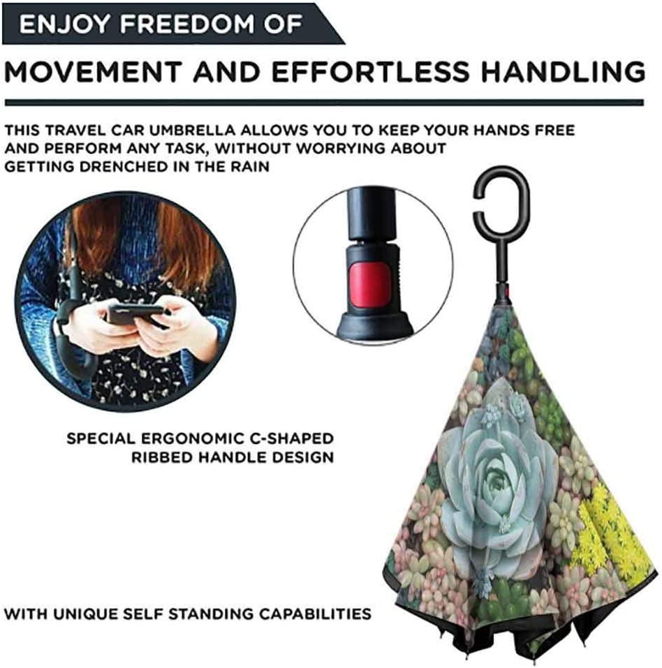 Miniature Plants Stones Self Stand Upside-Down Rain Protection Car Reverse Umbrellas with C-Shaped Handle Windproof Double Layer Folding Inverted Umbrella