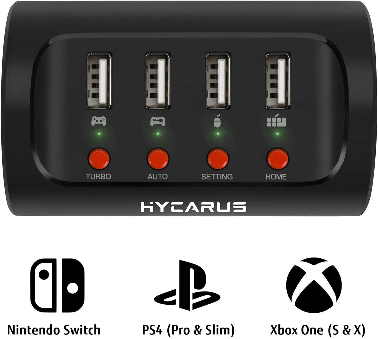 HYCARUS Adaptador de teclado y mouse con convertidor de controlador para PS4 / Xbox One / Nintendo Switch. Perfecto para juegos como FPS, TPS, RPG y RTS, etc.: Amazon.es: Videojuegos