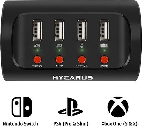 HYCARUS Adaptador de teclado y mouse con convertidor de controlador para PS4 / Xbox One / Nintendo Switch. Perfecto para juegos como FPS, TPS, RPG y ...