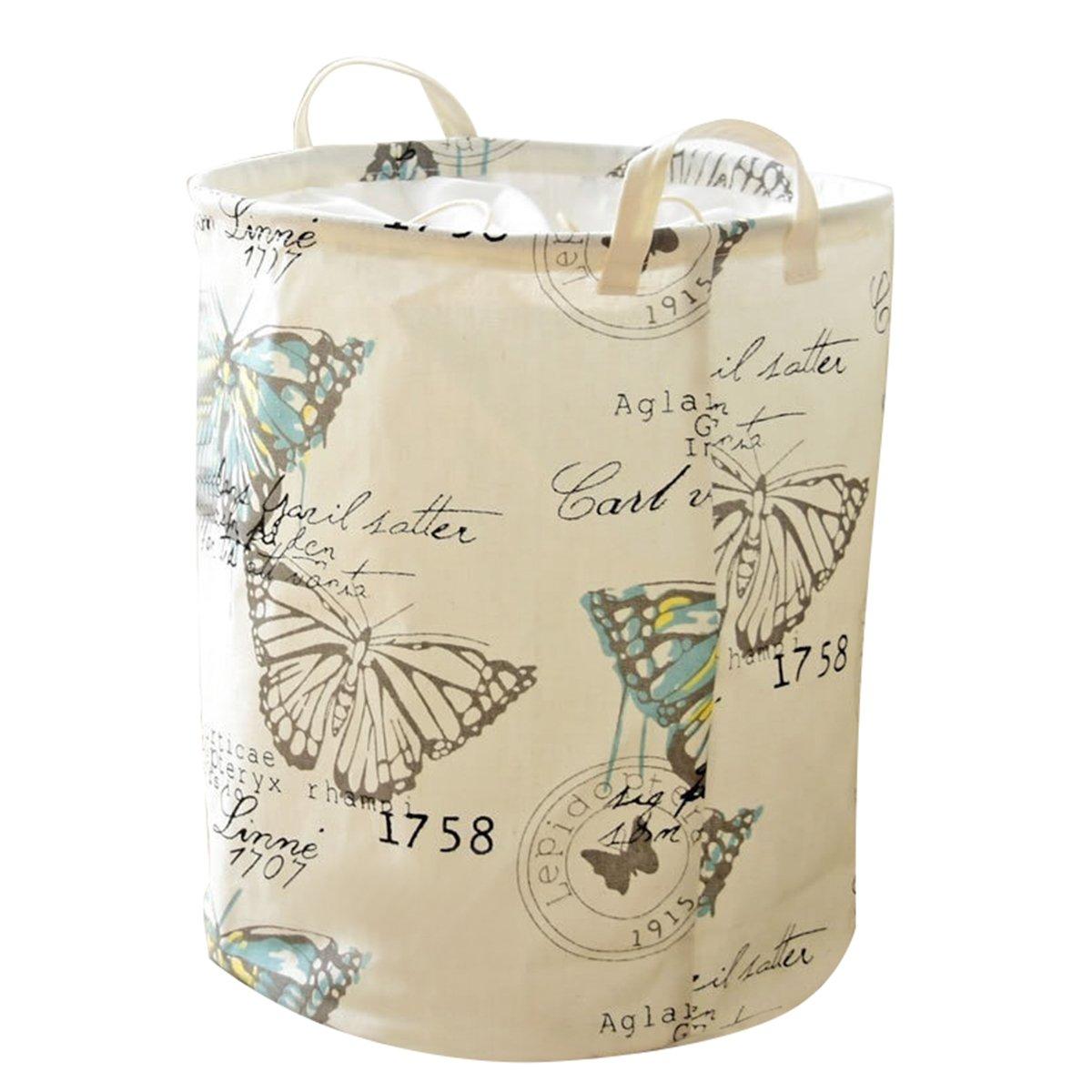 Caroeas Pretty Cute 18.1 Butterfly Laundry Basket Food Safe Dust-Proof Storage Hamper Double Layer Eco-friendly Fabric Bin Waterproof Laundry Bag Round Caroeas Home Decoration Co. ltd