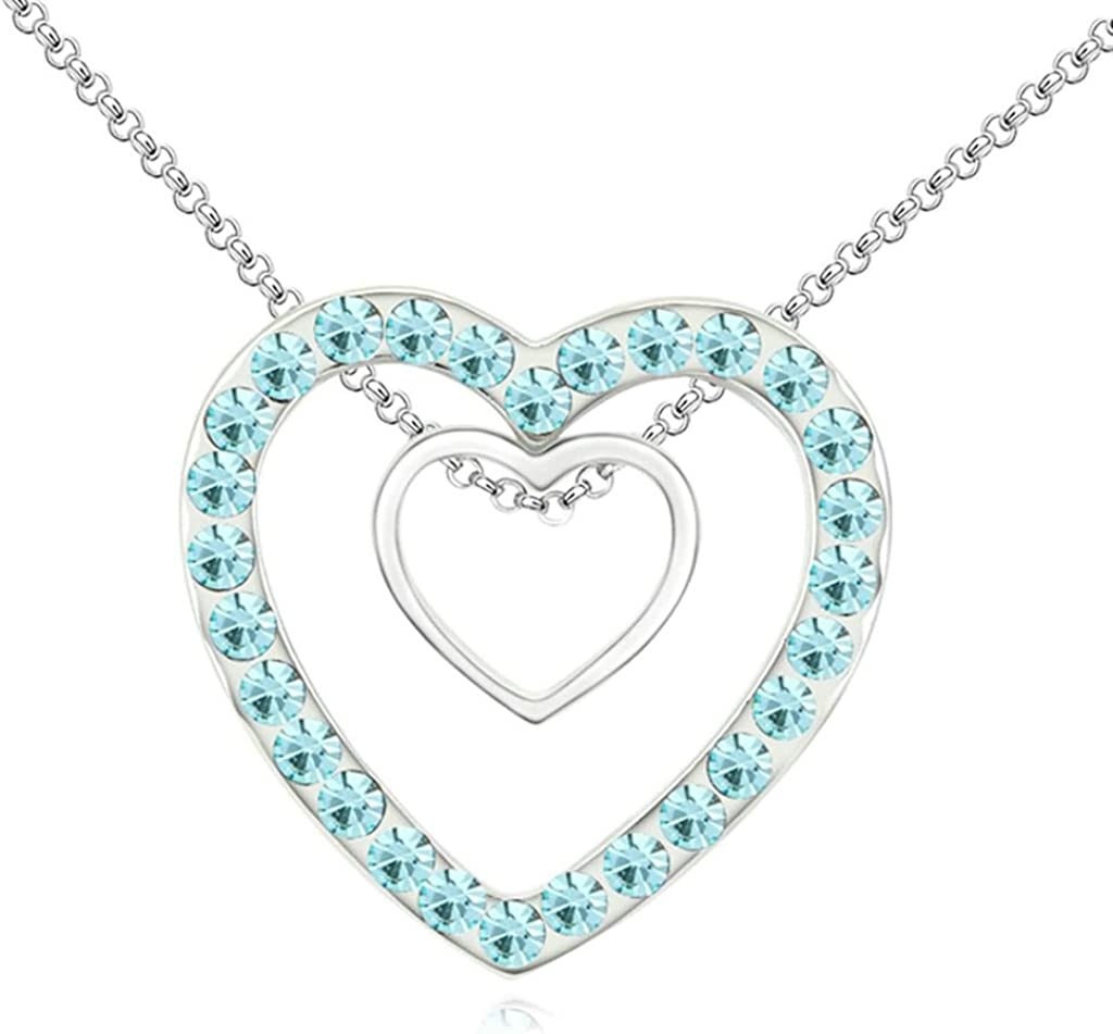 Adisaer Gold Plated Pendant Necklaces for Women Cubic Zirconia Hearts