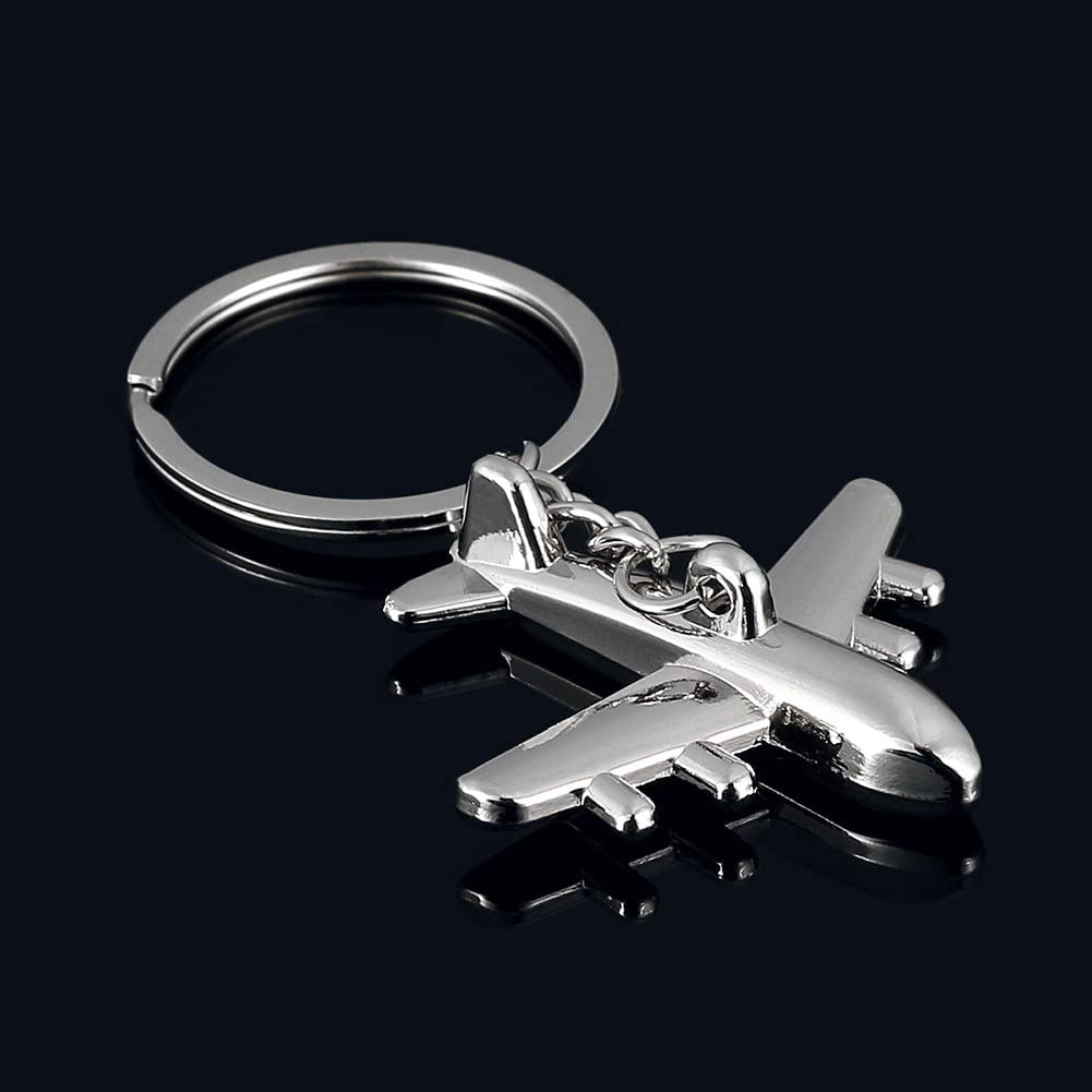 Potato001 Creative 3D Simulation Model Airplane Plane Keychain Key Chain Ring Keyring