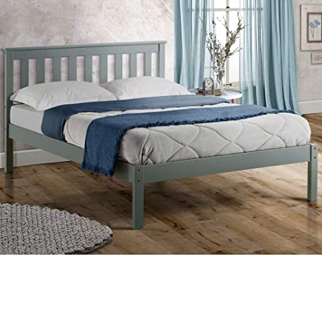 White Wood Bed Frame Single Double King Slatted With Headboard Solid Pine Grey