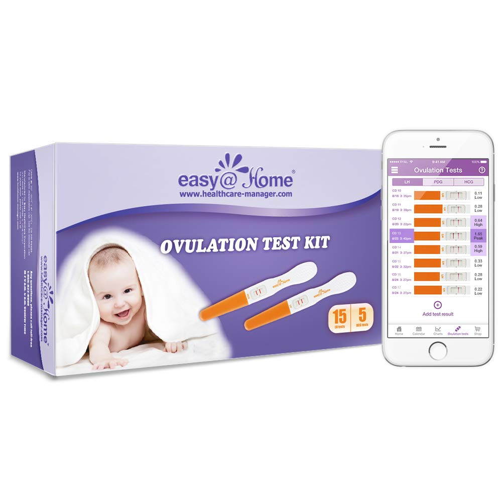 Easy@Home 15 Ovulation (LH) and Plus 5 Pregnancy (hCG) Test Sticks, Midstream Fertility Test Kit Powered by Premon Ovulation Predictor App