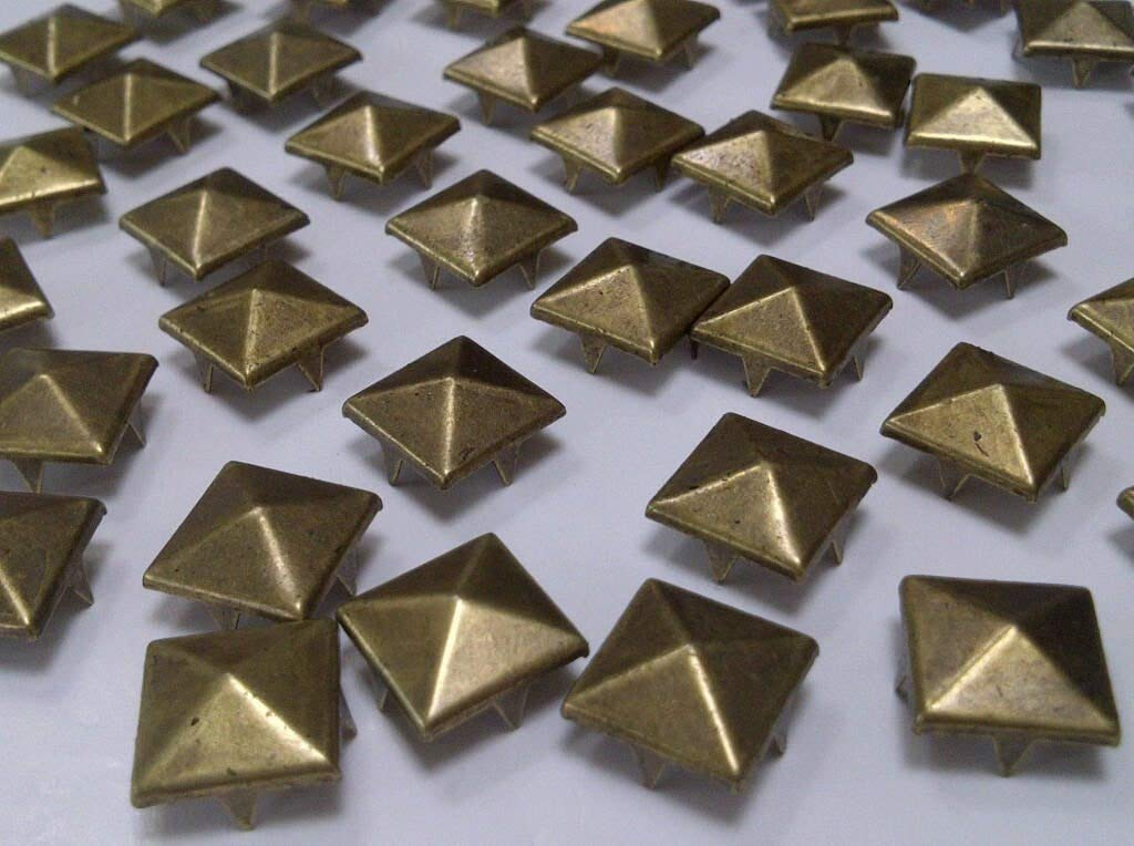 CraftbuddyUS 100 pcs 10 mm Brass Square Pyramid Craft Studs, Fashion Embellishment for Bag Shoe Crystal & Gems