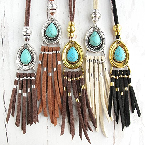 Bohemian Jewelry-Boho Tassel Necklace-Bohemian Turquoise Necklace-VALENTINES GIFT For HER-Leather Tassel Necklace-Leather Fringe Necklace-Leather Jewelry