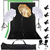 "AW Photo Studio 33"" 5500K 2X Diffuser Umbrella+Golden Reflector Umbrella+3X Bulbs+Green Black White Backdrop 10ft Stand"