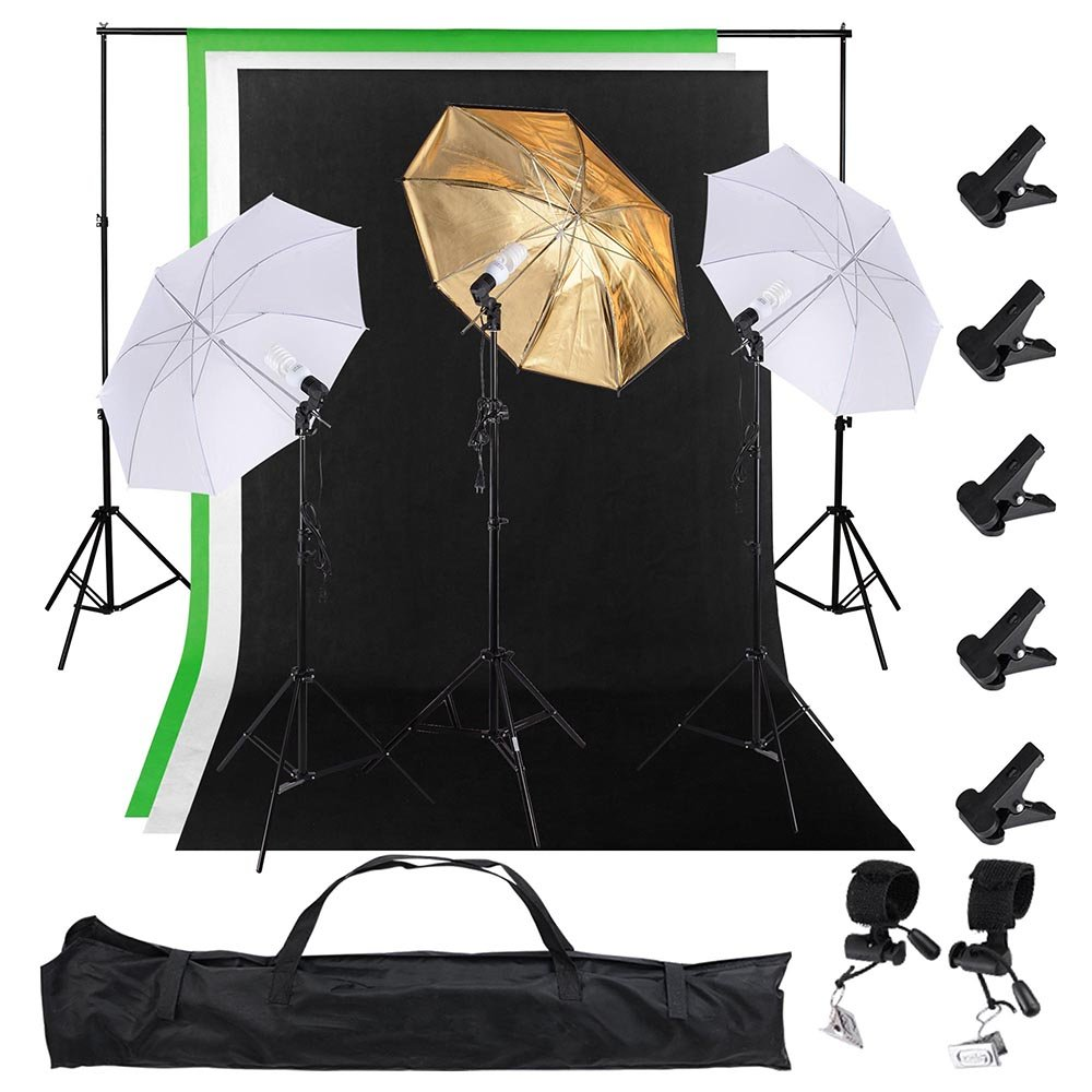 AW Photo Studio 33'' 5500K 2X Diffuser Umbrella+Golden Reflector Umbrella+3X Bulbs+Green Black White Backdrop 10ft Stand by AW