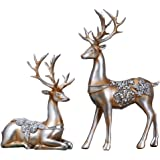 Olpchee 2Pcs Christmas Reindeer Resin Sculpture Individuality Deer Figurine Statue Home Office Decor Statues (Champagne…