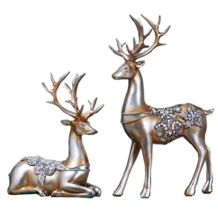 olpchee 2pcs christmas reindeer resin sculpture individuality deer figurine statue home office decor statues champagne - Christmas Deer Decor