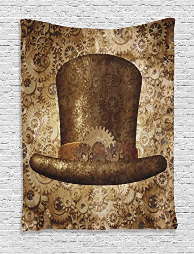 [Ambesonne Victorian Decor Collection, Steampunk Top Hat as a Science Fiction Concept Made of Metal Copper Gears and Cogs Image, Bedroom Living Room Dorm Wall Hanging Tapestry,] (Steampunk Decorations)