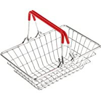 MagiDeal Small Metal Shopping Basket Role Play Pretend Toys for Kids Childrens Red