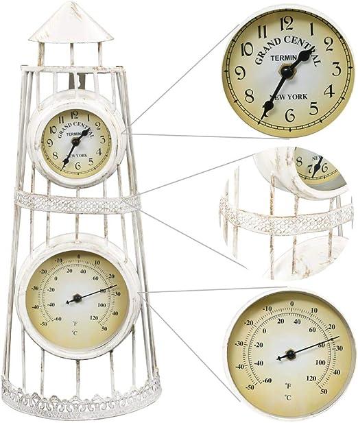 vidaXL Reloj Pared Jardín Diseño Vintage con Termómetro Decoración Exterior: Amazon.es: Hogar