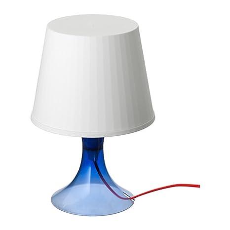 IKEA LAMPAN – Luz ambiental Color Blanco con pie azul oscuro transparente y cordón rojo –