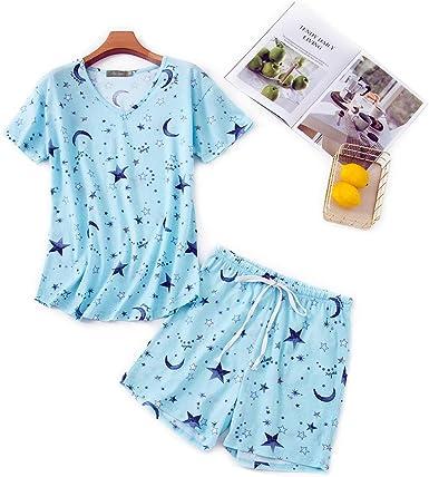 Misscoo Conjunto de Pijamas para Mujer sin Mangas Pantalones Cortos para Mujer niñas Estudiantes algodón Primavera Verano Pijamas