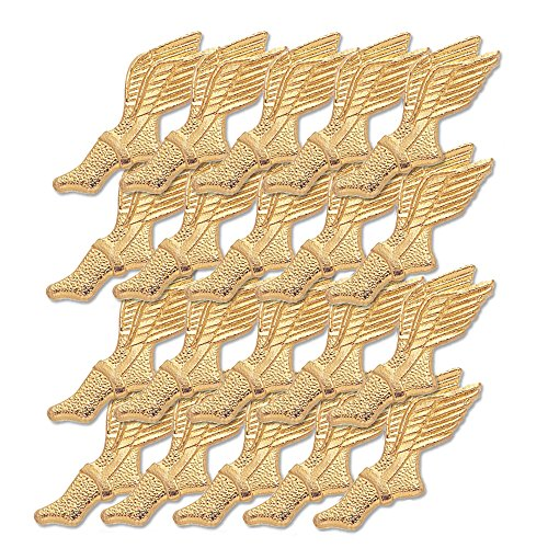 (7/16 Inch Gold Winged Foot Chenille Pin - Package of 20, Poly Bagged)