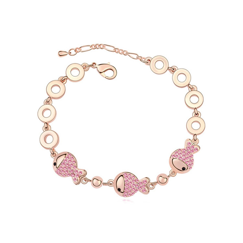 Flower-Bud Brand Austrian Crystal Bracelet - New Clown Fish AliExpress Fine Manufacturers,Light Rose+Rose Gold 3-155