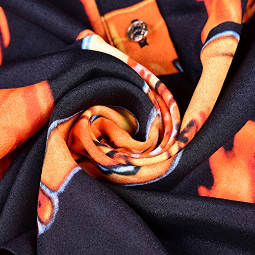 Tie Dresses Slim Dress Fit T cotyledon Neck Print Sleeve Long Women's Elegant Shirt Bow qzFXxB