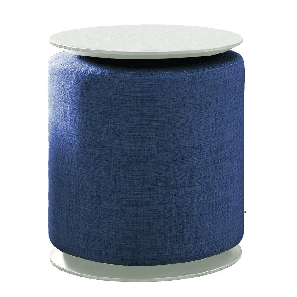 Tuoni Claps Table basse-pouf - bois multicouche-tissu 40x40x46 cm Blu-Laccato Bianco