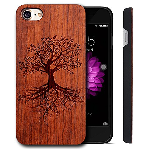 Funda Madera Tallada Protectora Cubierta para iPhone 7 Natural Wood Caja de PC Vintage Bumper Protector Carcasa para Apple iPhone 7 (4.7 inch) ROSE-tree