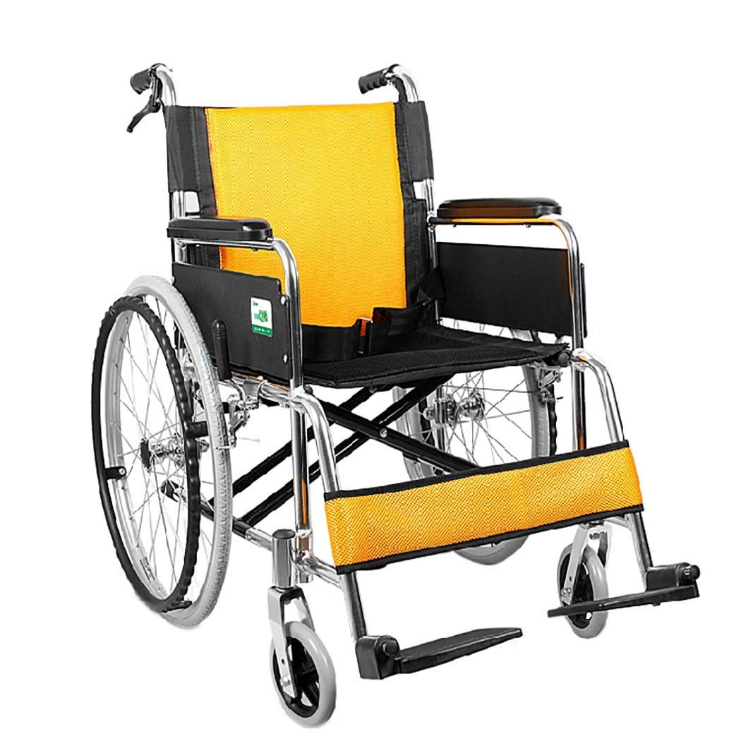 再再販! HSBAIS ドライブメディカルトランスポート車いす軽量折りたたみ HSBAIS、強靭で丈夫なアルミニウム合金,yellow_18