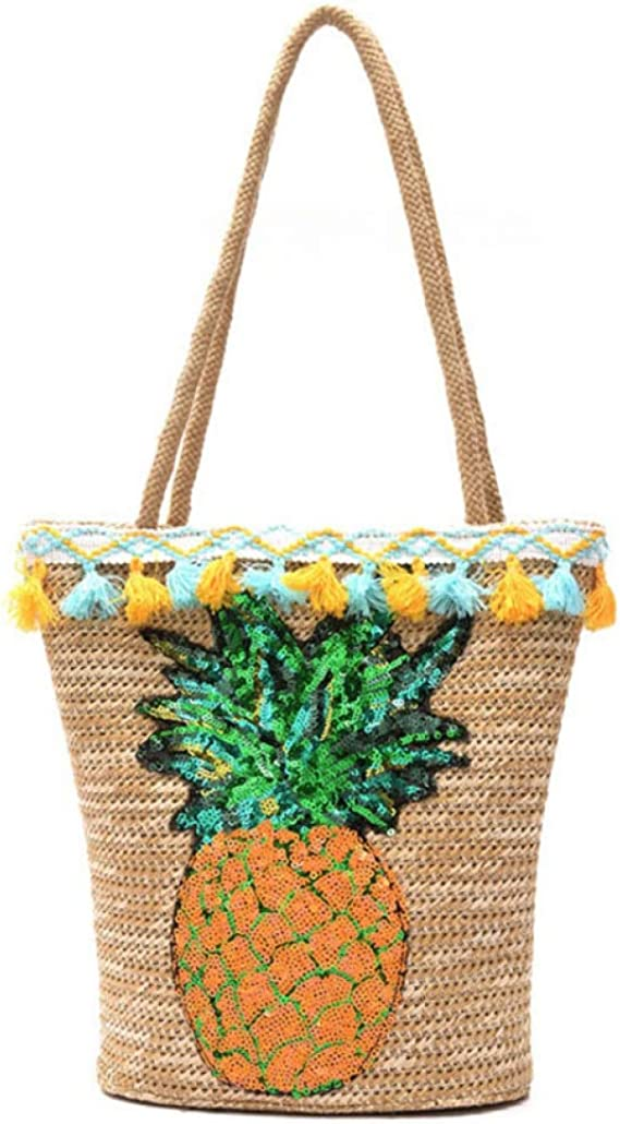 Large Pineapple Print Bag Handmade Pattern Rattan-Made Single-Shoulder Bags Beach Bucket Straw Bag