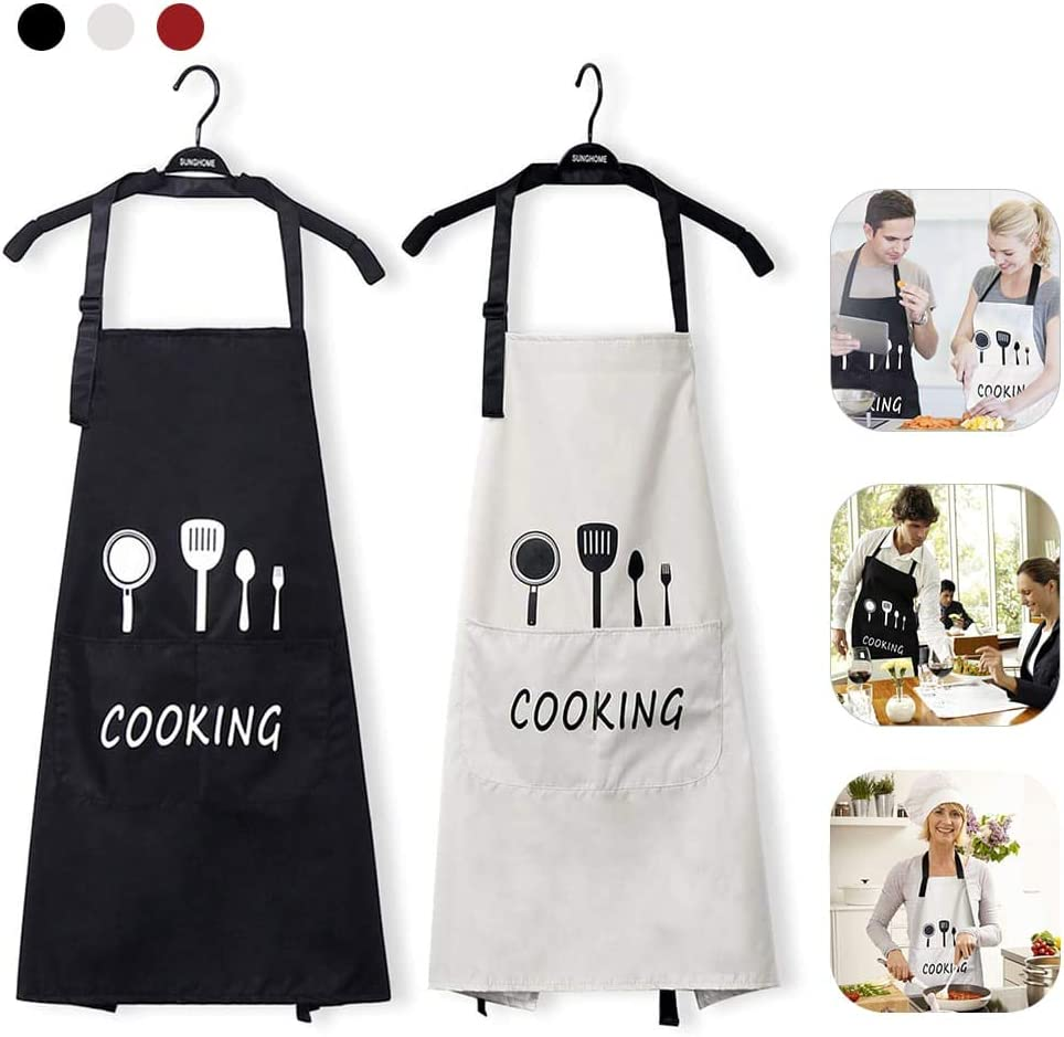 Apron for Women Kitchen Cooking Waterproof Aprons with Pockets (Black Beige)
