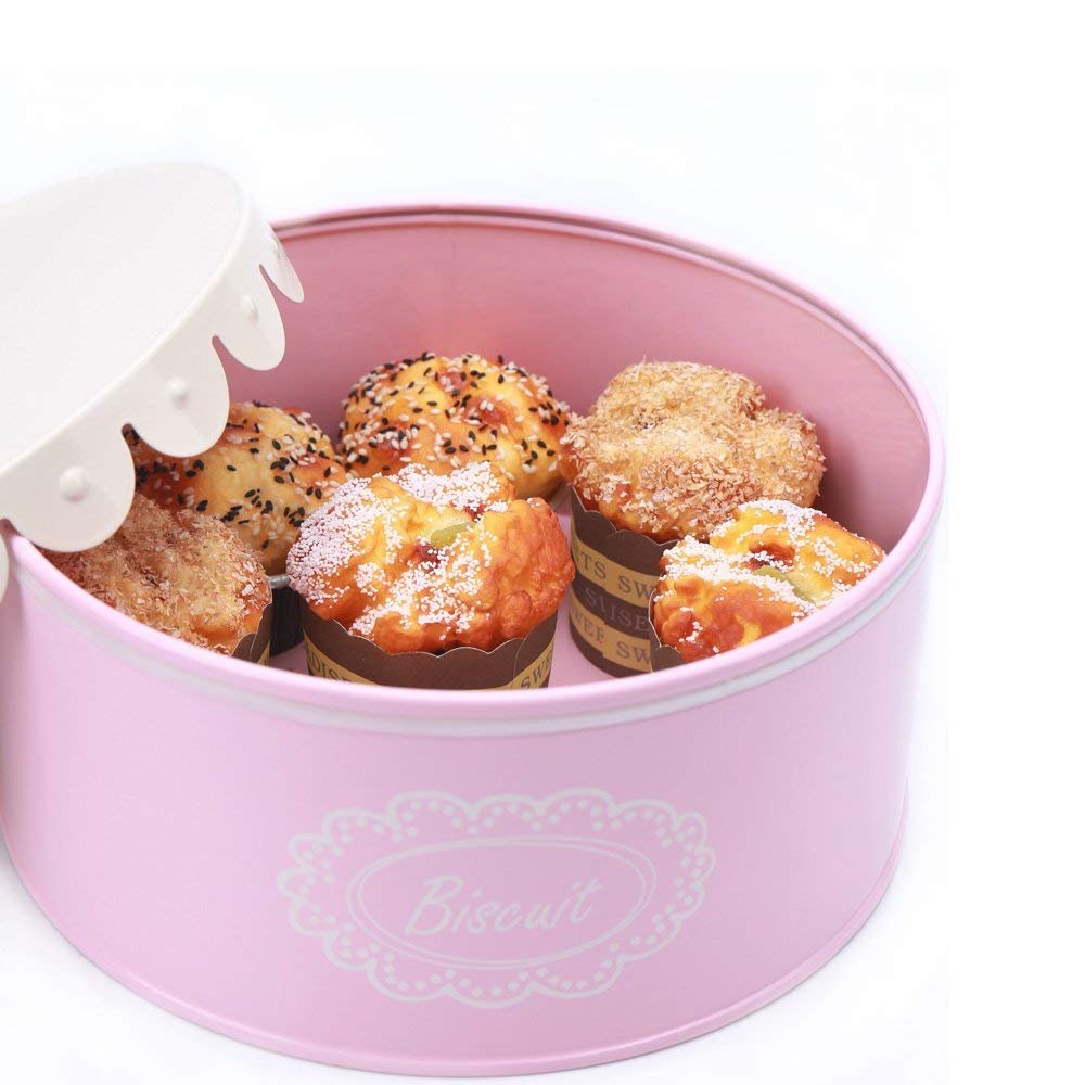 LHH l079 XピンクメタルBiscuit Storage Tin Canister/Cookie Jar/ホームキッチンギフト/コンテナwithレース蓋 B07FQ773H7