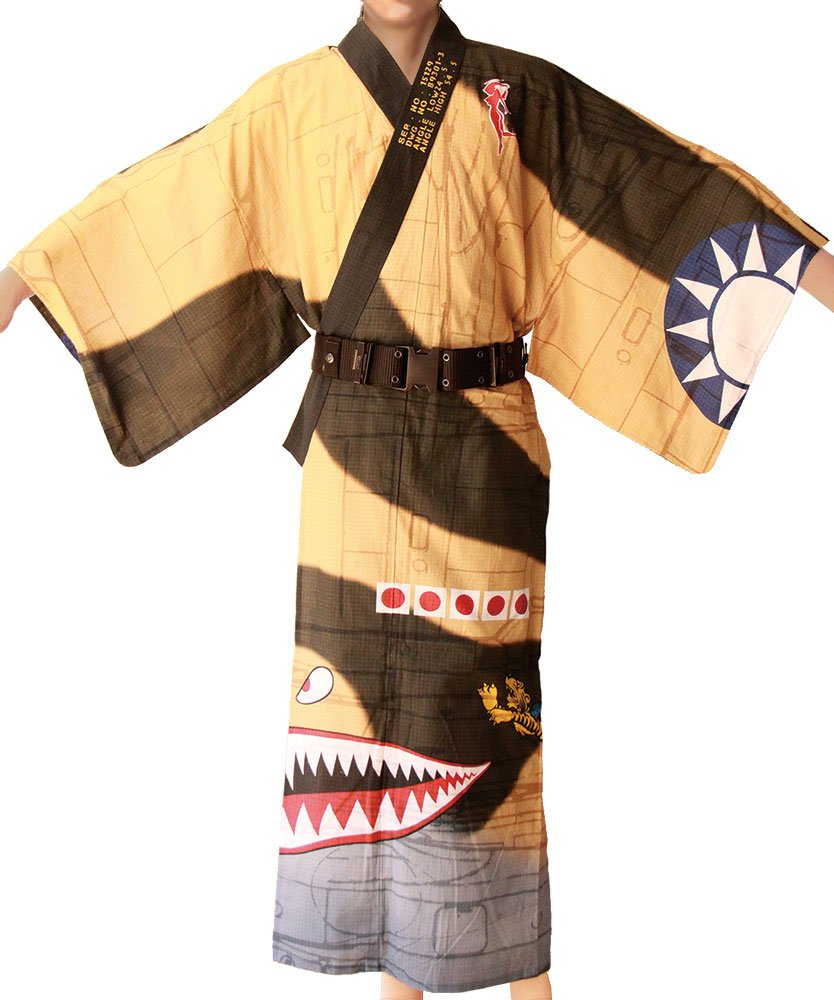 mono Men's RYO WW2 Military Aircraft Yukata Series CURTIS P-40 FLYING TIGERS(M)