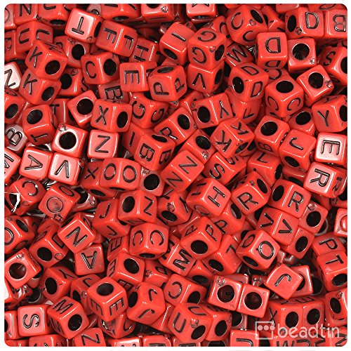 - BEADTIN Dark Red Opaque w/Black Letters 6mm Cube Alphabet Beads A-Z Mix (200pc)