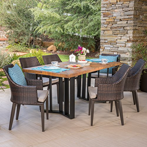 Great Deal Furniture Athena Outdoor 7 Piece Multibrown Wicker Dining Set with Textured Brown Finish Light Weight Concrete Dining Table and Light Brown Water Resistant Cushions ()