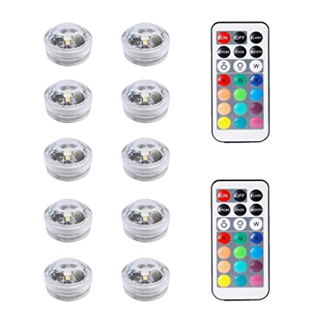 10pcs Luces sumergibles LED, Multicolor Impermeable Underwater Lights SMD 3528 RGB Mood Luces con control